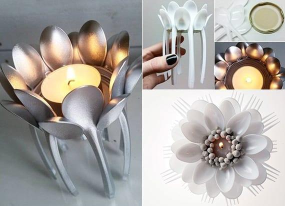 originelle tischdeko ideen mit diy teelichter aus plastiklöffeln und plastikgabeln