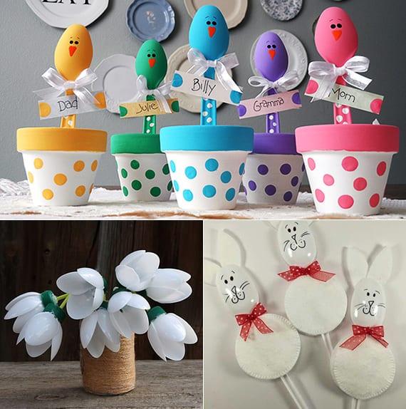 coole bastelideen für kinder und eine bunte osterdeko mit DIY platzkarten und frühlingsblumen aus plastiklöffeln