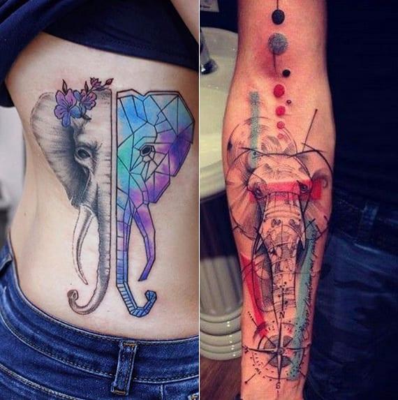 coole elephant tattoo designs mit farbe und geometrischen figuren