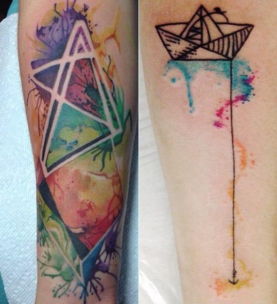 tolle dreieck wasserfarbe tätowierungen_kleines boat tattoo unterarm