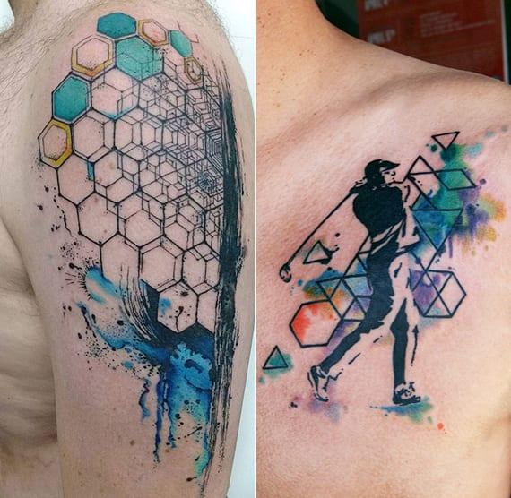 coole geometrische tattoos in blau_watercolor golfspieler tattoo design mit hexagonen