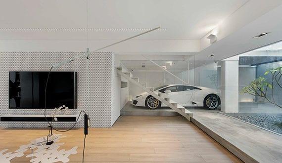 Living In A Garage_luxus Wohnzimmer In Weiß Mit