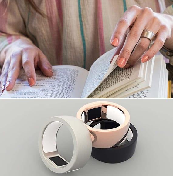 biometrischer ring in rosagold, silber und rhodium mit fingerprint-sensor für sichere zahlungen,passworteingabe und zugang von daten