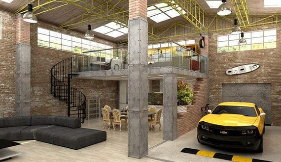 modernes wohnzimmer mit garage in industrieller wohnung mit ziegelw nden und dachfenstern. Black Bedroom Furniture Sets. Home Design Ideas