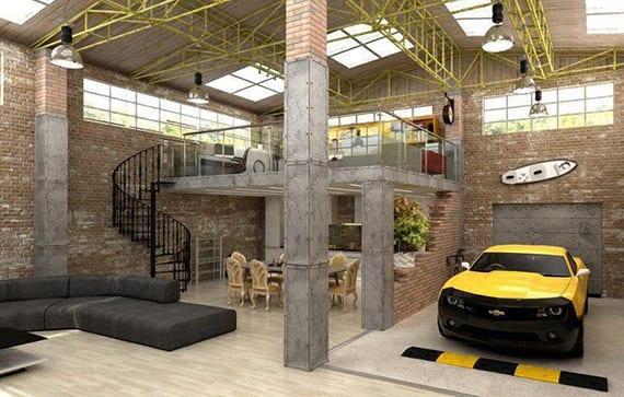 industrielles loft wohnung in einer halle aus beton und ziegeln mit offener garage für superautos