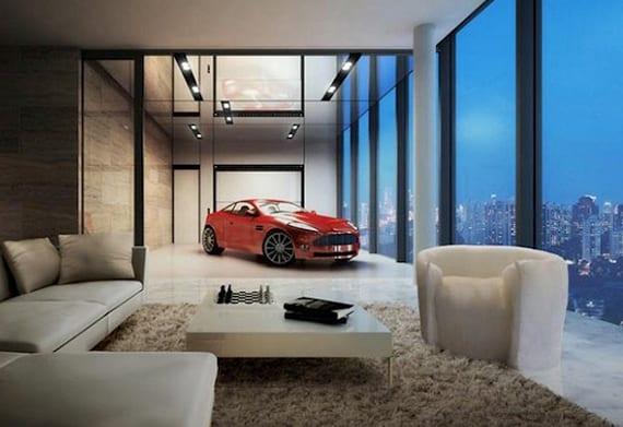 luxusapartment mit sky garage, wandverkleidung aus natursteinplatten, spiegeldecke mit einbaudeckenleuchten, sitzecke mit weißem sofa und couchtisch auf weißem teppich mit panoramablick auf die stadt