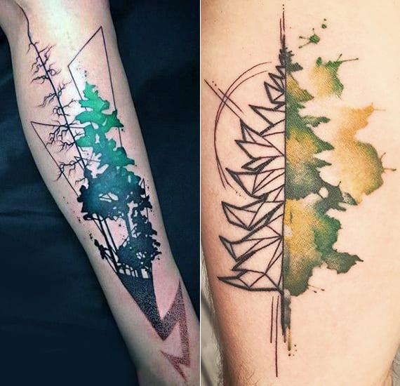 kreative männer bein tatto ideen mit geometrischer baum tätowierungen in schwarz und grün