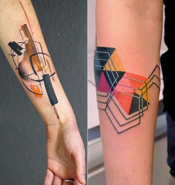 unterarm tätowierungsideen für weibliche geometrische Tattoos mit schwarzen konturen und farbige motiven