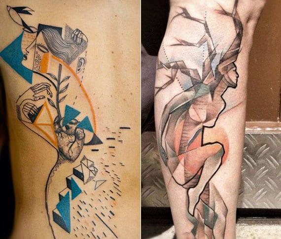 abstrakte und kreative körperkunst mit farbigen geometrischen tattoos