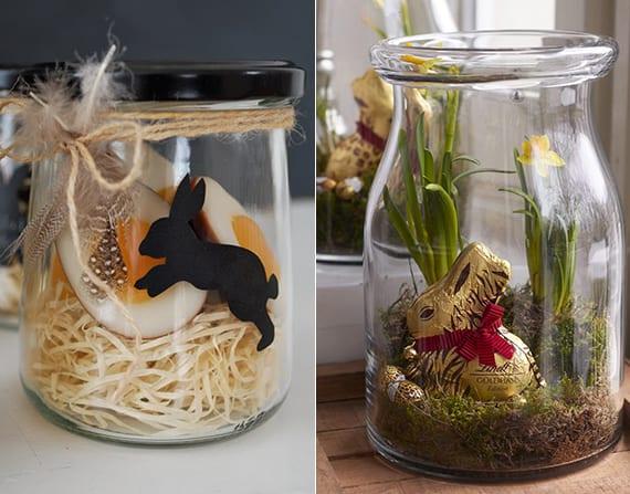 coole osterdeko und ostergeschenke im glas mit osterhase, zwiebelblumen und bonbons