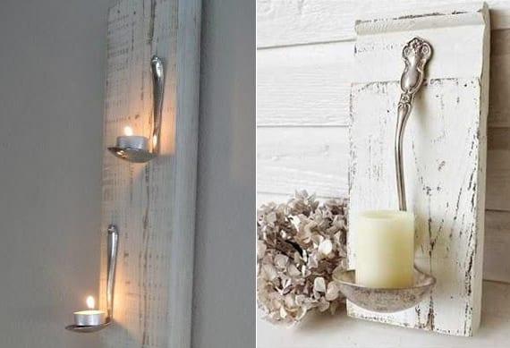 coole wanddeko mit rustikalen DIY teelichthalter aus holzbrett und esslöffeln oder schöpfkelle