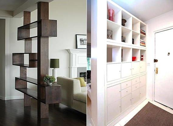 wohnungseingang im wohnzimmer kreativ teilen mit offenem regal aus holz oder mit regalsystem kallax zur aufbewahrung und dekoration