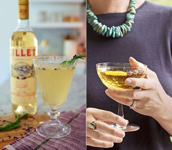 leckere rezeptideen für Spritzer-Lavendel-Cocktails mit Champagner und getrockneten Lavendelblüten