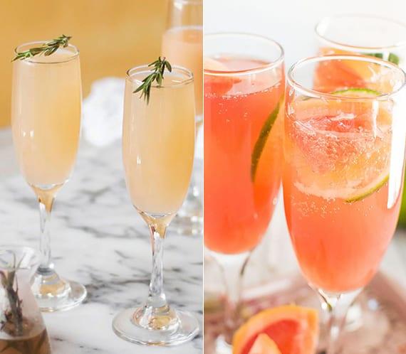 Mimosa Cocktails mit Grapefruit, Tequila,Champagner und Zitronensaft