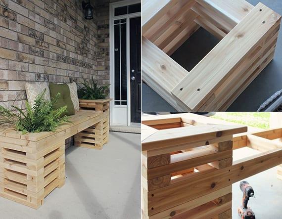 elegante Gartenbak mit Hochbeeten aus Holz selber bauen für attraktive Terrassengestaltung und Terrassenbegrünung