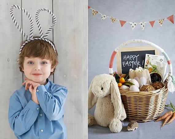 bastelidee für diy haseohren und coole osterkorb-geschenkidee für kinder mit trockenfrüchten, popcorn, kinderbuch und plüschhase