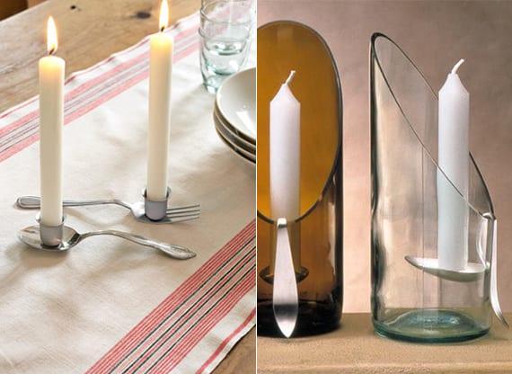 kreative tischdeko ideen und coole upcycling besteck ideen für DIY kerzenhalter aus esslöffeln und weinflaschen