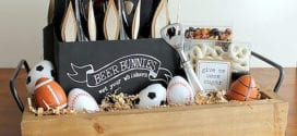 osterkorb mit bier und fußball-ostereiern als originelle geschenkidee für männer zu ostern