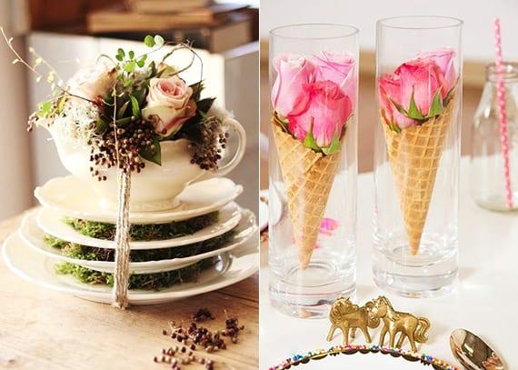 originelle tischdeko mit rosafarbigen Rosen in Eiscremewaffel und coole Blumendeko mit rosen und moos in weißen Porzellantellern