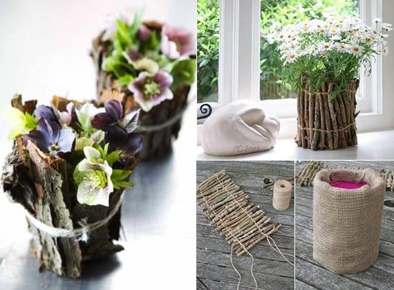 rustikale Blumendeko selber machen mit Blumen in DIY Vasen aus Borke und stäbchen