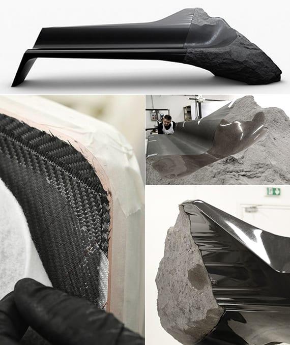 carbon sofa mit attraktivem design und nahtlose verbindung mit einem lavagestein