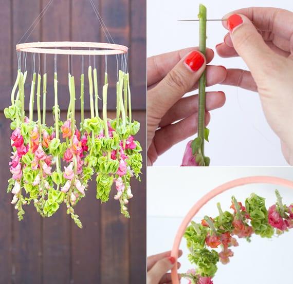 bastelidee für hängende Frühlingsdeko mit Blumen