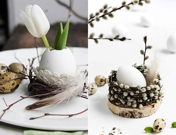 originelle platzteller dekoration mit kleinem DIY Osternest aus zweigen und weißem Ei als kleine Vase