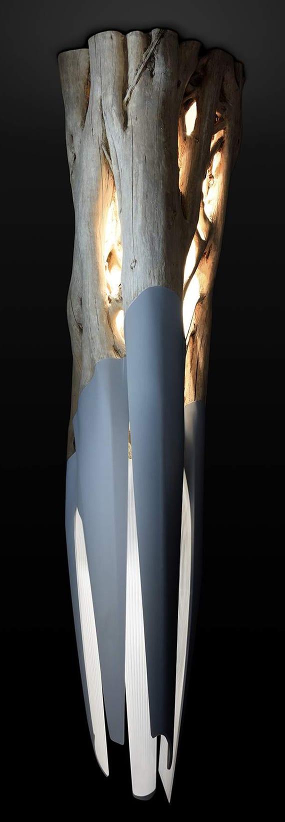 moderne hängelampe aus holz und 3D gedruckten Teilen