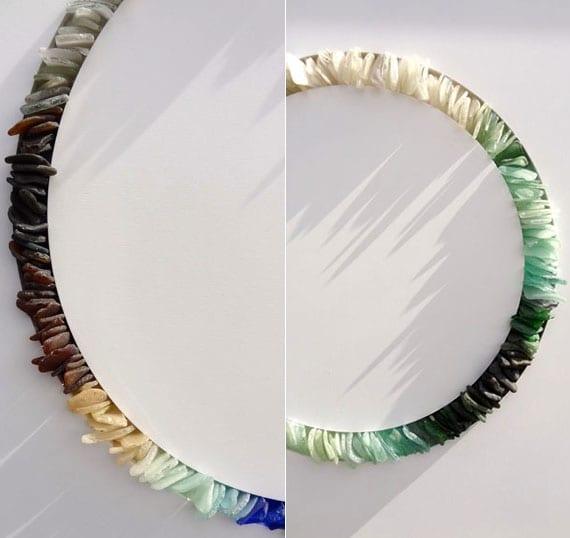 originelle dekoration für wand selber machen mit bunten meerglas steinen