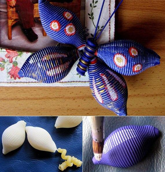 coole bastelidee für diy Schmetterling aus nudeln