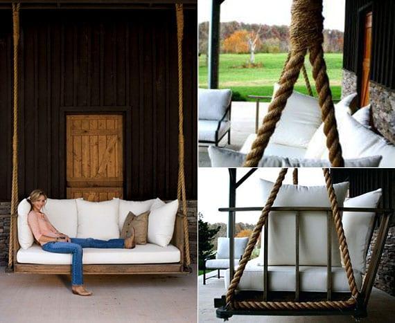 gestaltungsidee für überdachte veranda im landhausstil mit hängender schaukel aus holz und dicken seilen