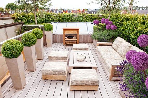 moderne gestaltungsidee für kleine rooftop terrasse mit holzdiele, glasdach, lounge-holzmöbeln und frische terrassenbegrünung mit buchsbäumen und lila blumen