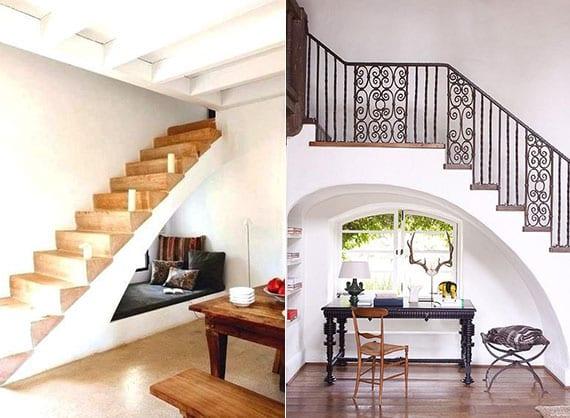 raum unter treppe in gemütliche Lounge-Ecke oder in praktische Arbeitsecke verwandeln