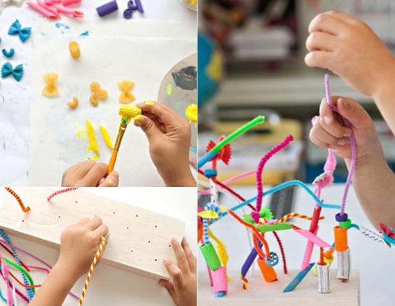 kreatives spielzeig aus bunten nudeln und chenilledraht basteln mit kleinkindern