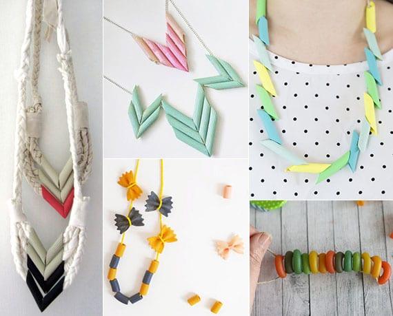 coole bastelideen für coole DIY halsketten aus verschiedenen Nudelarten