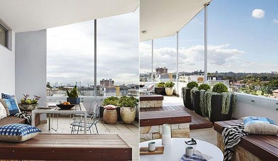 terrassengestaltung-idee-mit-sitzbänkene-aus-holz-und ...