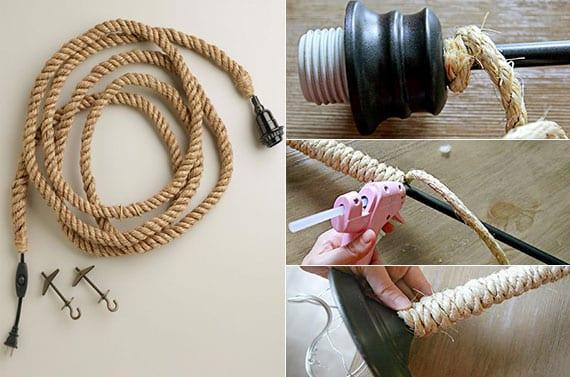 tolle zimmerdeko und moderne hängeleuchten basteln mit seil