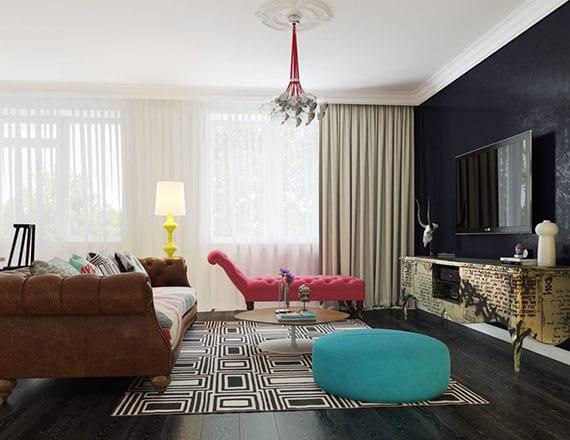 modernes wohnzimmer interieur design mit schwarzem holzboden, akzentwand schwarz, TV Regal gold, liege in pink, bodenkissen blau, ledersofa braun mit rundem kaffeetisch holz auf schwarz-weißem teppich, stehlampe gelb