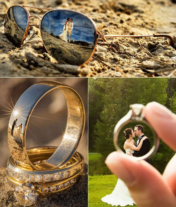 interessante hochzeit ideen für coole brautpaar fotos mit wiederspiegelung auf sonnenbrillen und ehering