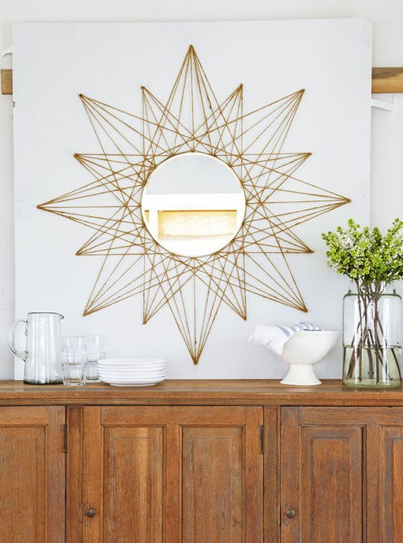kreative dekoideen wand mit diy seil-spiegel_sideboard im esszimmer modern dekorieren