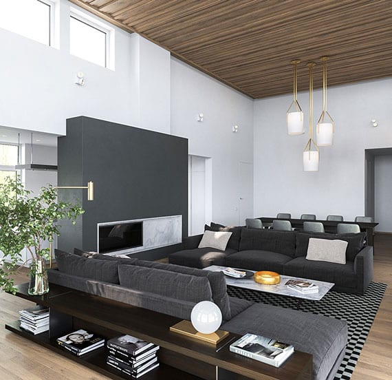 offenes wohnzimmer modern gestalten mit holzdecke, parkettboden, akzentwand mit kamin in wandfarbe grau, zwei dunkelgrauen sofas mit couchtisch marmor und sideboard holz