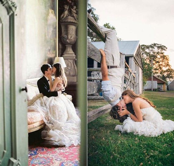 romantische brautpaar fotos beim küssen als idee für originelles hochzeit fotoalbum