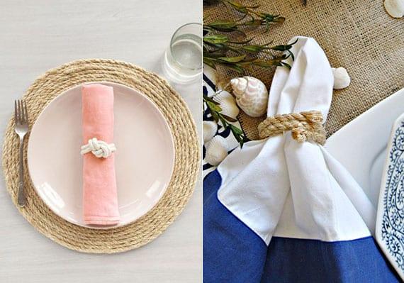 coole tischdeko mit diy serviettenringen und tischsets rund aus seil