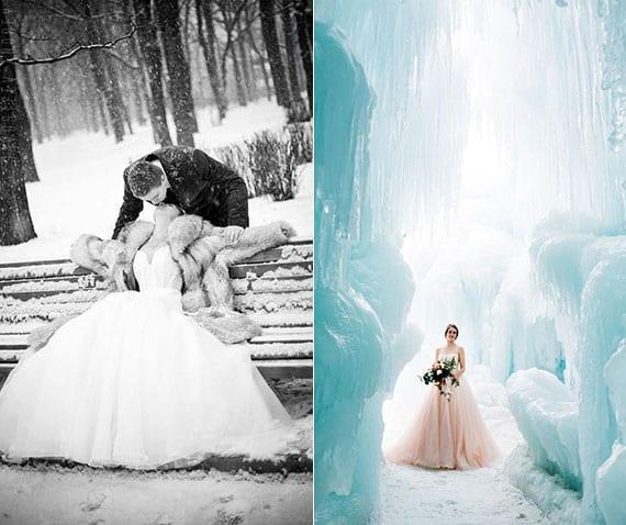 romantische fotoideen für eine winterhochzeit
