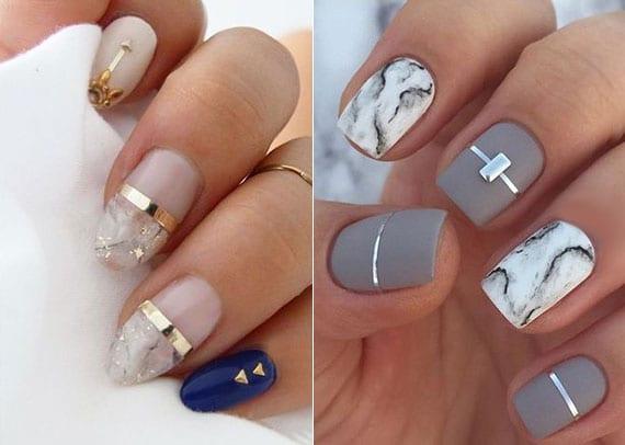 marmor nägel als french maniküre und als nageldesign mit metallischen streifen und nagelornamenten