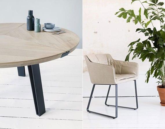 esszimmer modern einrichten mit designer holzesstisch rund und gepolsterten Stühlen in Creme