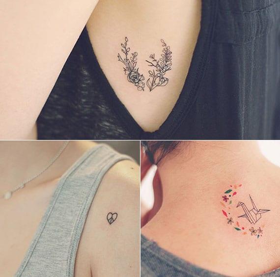 herz tattoo für schulter, origami vogel tattoo für rücken und blumen tattoo motive