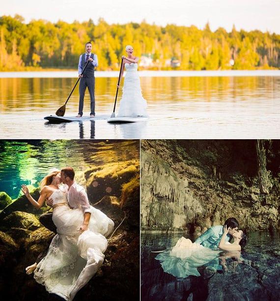 hochzeit ideen für schöne brautpaar fotos im see und romantische brautpaar kuss fotografie