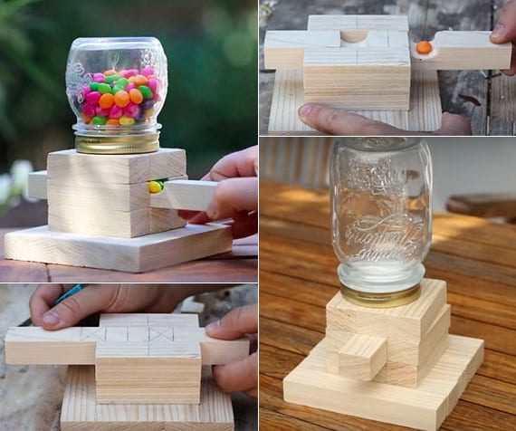 Bonbonspender selber machen aus Holzleiste und Einmachglas mit Deckel