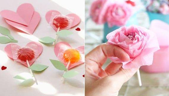 tolle bastelideen mit papier und lutschern für blumentischdeko und valentinstagkarten